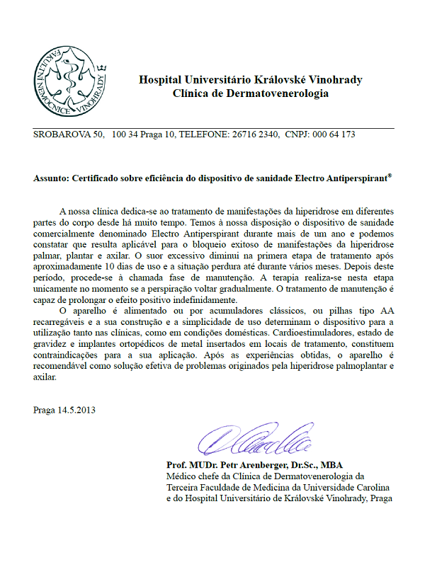 Certificado sobre eficiência do dispositivo de sanidade Electro Antiperspirant